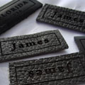 Printed Leather Labels in Faux suede - Image #0